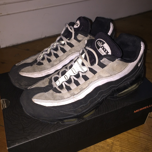 Nike Air max 95 size 6. Black and white with Depop