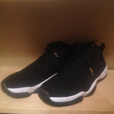 8e74638125fd ... discount code for ds air jordan future black white gold lace tips gold  logo depop 2aa2e