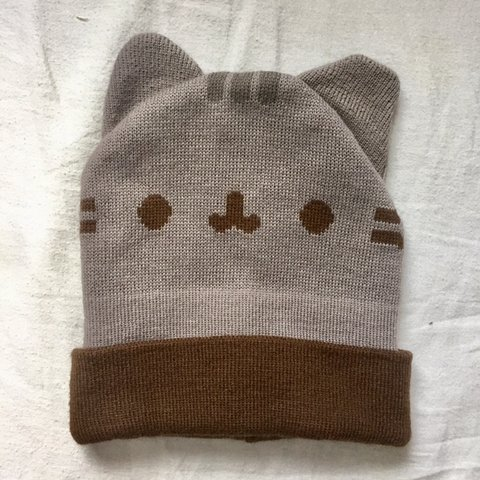 3d2c58213fdba Pusheen Beanie Hat Classic pusheen colors with a fold over - Depop