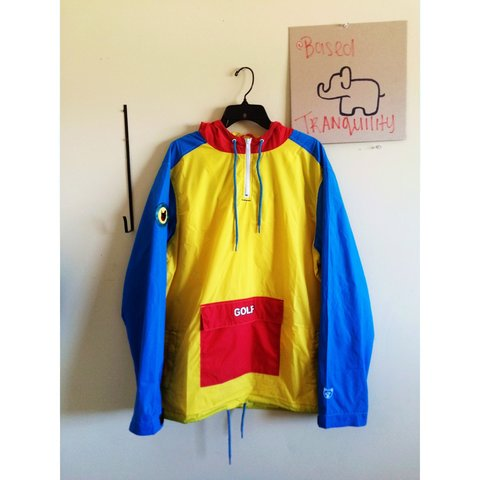 53a21fc6080eb7 Tri color GOLF windbreaker in good condition only flaws is - Depop