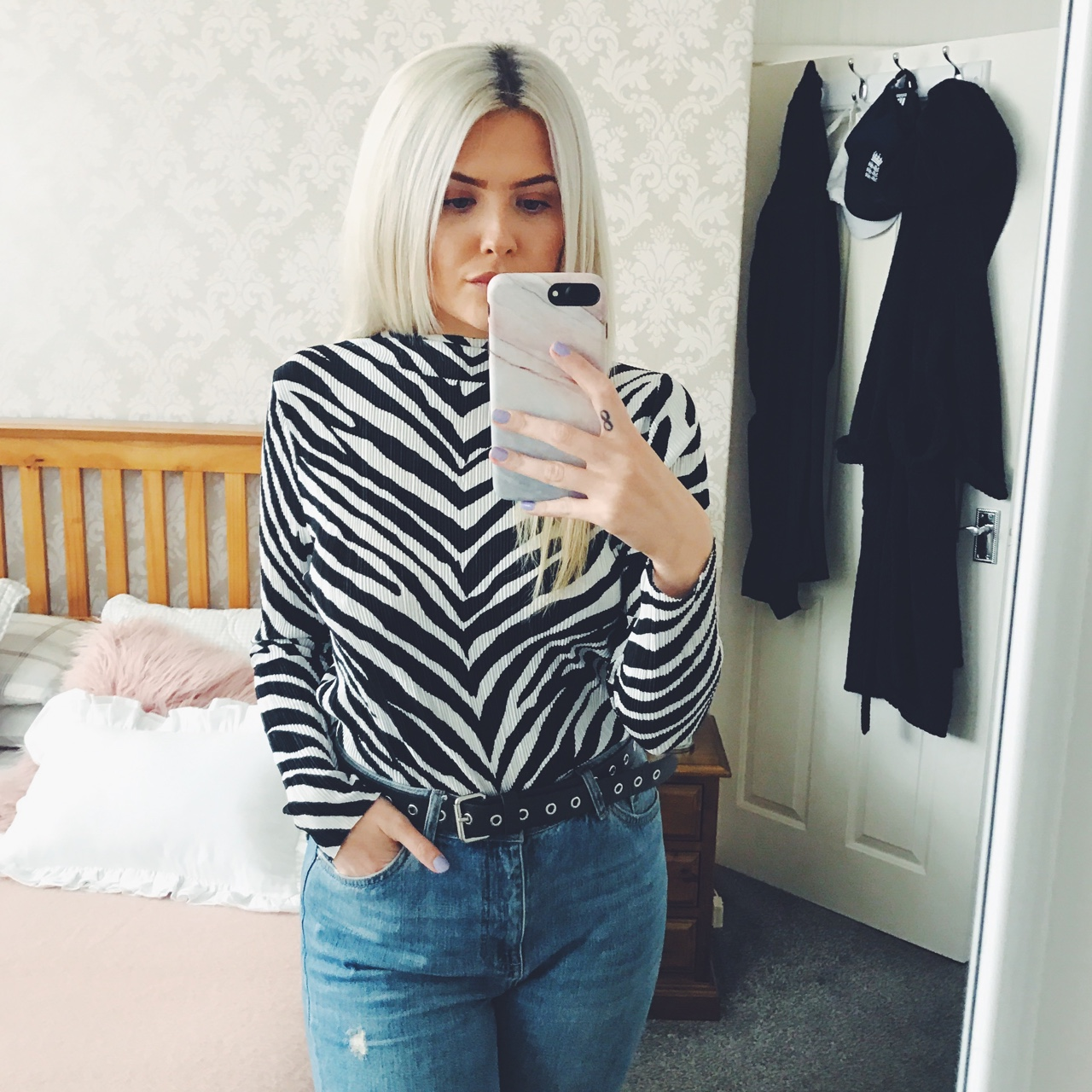 quite nice entire collection great deals Topshop crinkle / pleat high neck zebra print top ... - Depop