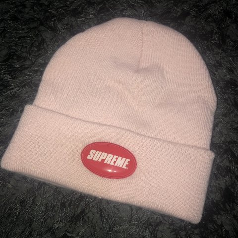 892e31a33c8 Supreme pink rubber patch beanie Very lightly worn Inside - Depop