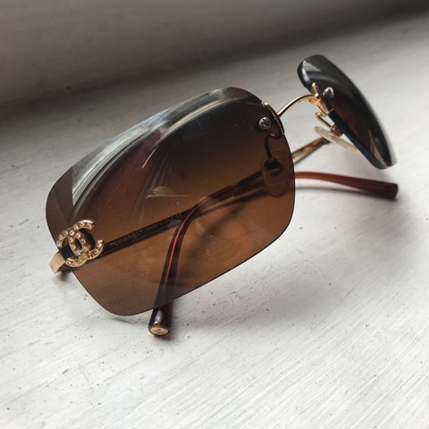 431c1067c55 Authentic vintage 90s Chanel sunglasses - brown frameless to - Depop