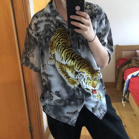 7f2fd938 @erinmurphy. 4 months ago. London, United Kingdom. Vintage Chinese style tiger  print shirt 🐯