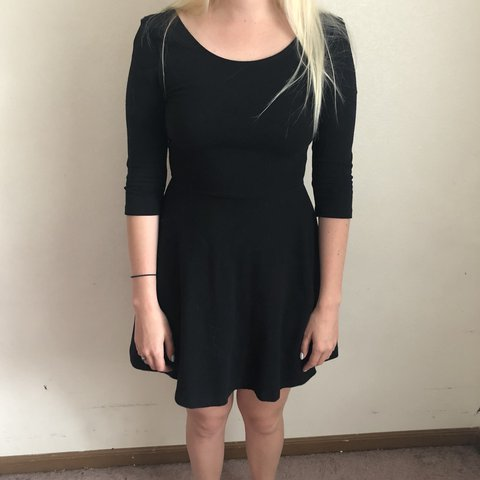 5084a0dd87f Plain black dress with an a-line fit. Super fun to dance in - Depop