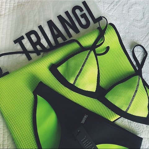 6c54cf21b1e @fayeallenx. 4 years ago. England, UK. GENUINE TRIANGL SET (TOP & BOTTOM)  NEOPRENE BIKINI IN NEON YELLOW ...