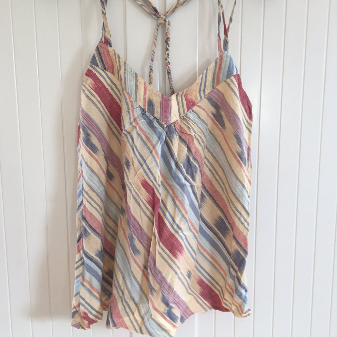 7885d9d74719f7 Blue striped top with crochet. £10. Heritage 81 (American brand) tribal