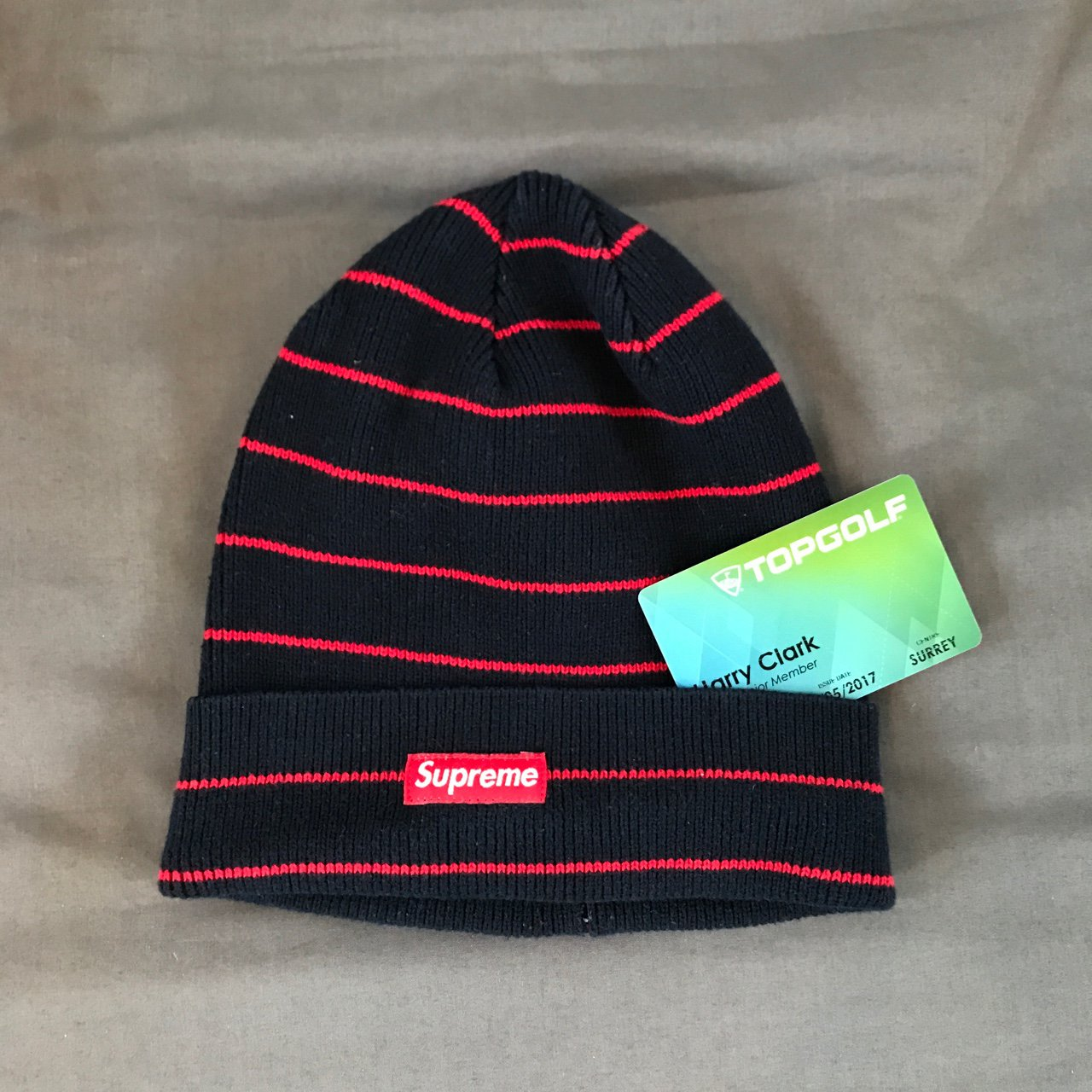 Supreme Navy   Red striped beanie hat from 2014 15 Worn only - Depop f29ea5e2b4d