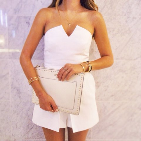 569975c48f1b Topshop white bandeau playsuit! Very classy. Size 10! but to - Depop