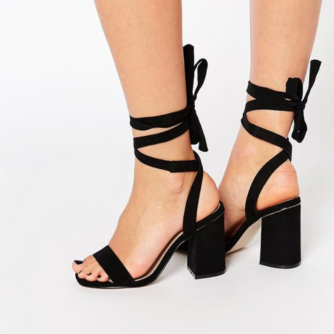 51f52785ed7 ASOS black tie up heeled sandals size 7