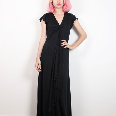 Vintage 70s Ruffle Front Extra Long Maxi Dress Black With Depop