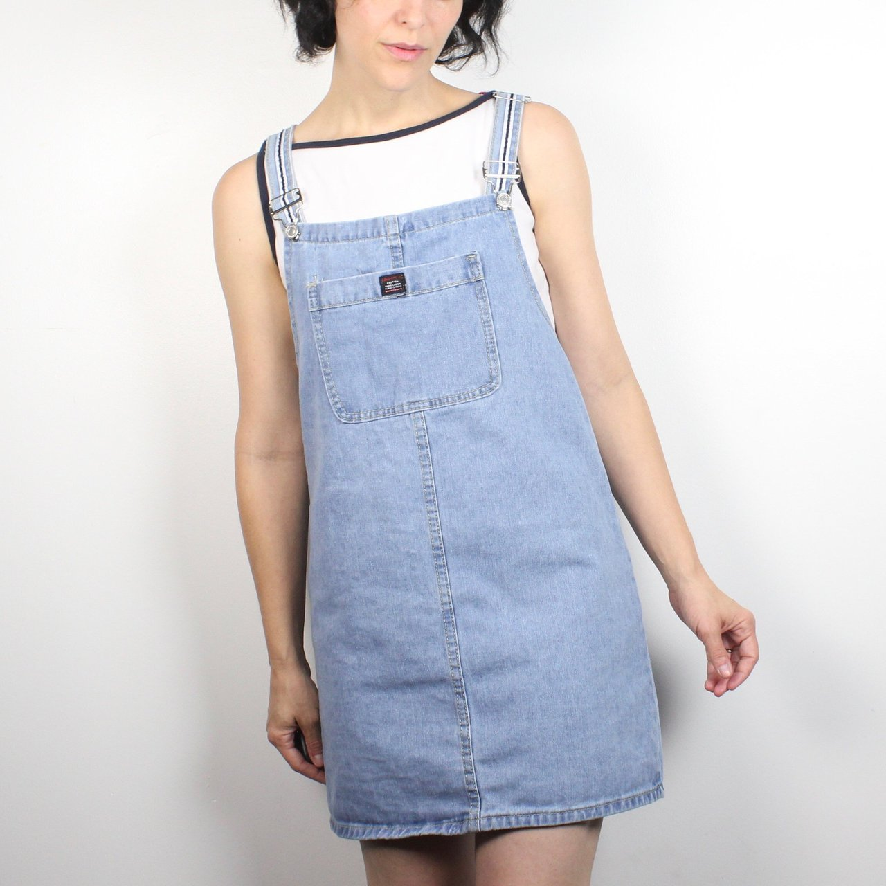 e691ff3c916 Vintage 90s overalls dress. Blue denim. Unlined. No stripe a - Depop