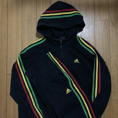 4810df2ae28 Peng full Adidas Rasta tracksuit! Bottoms and hoodie. Size a - Depop
