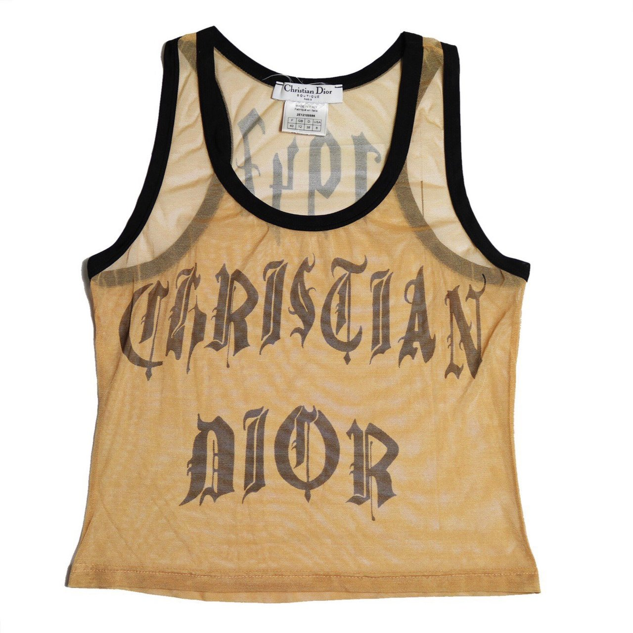 8c5a211642010 Christian Dior monogram logo gothic font mesh sheer tank By - Depop