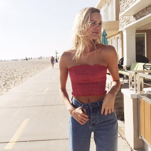 9b03fe0fbe brandy melville thick red tube top    super cute and brand - Depop