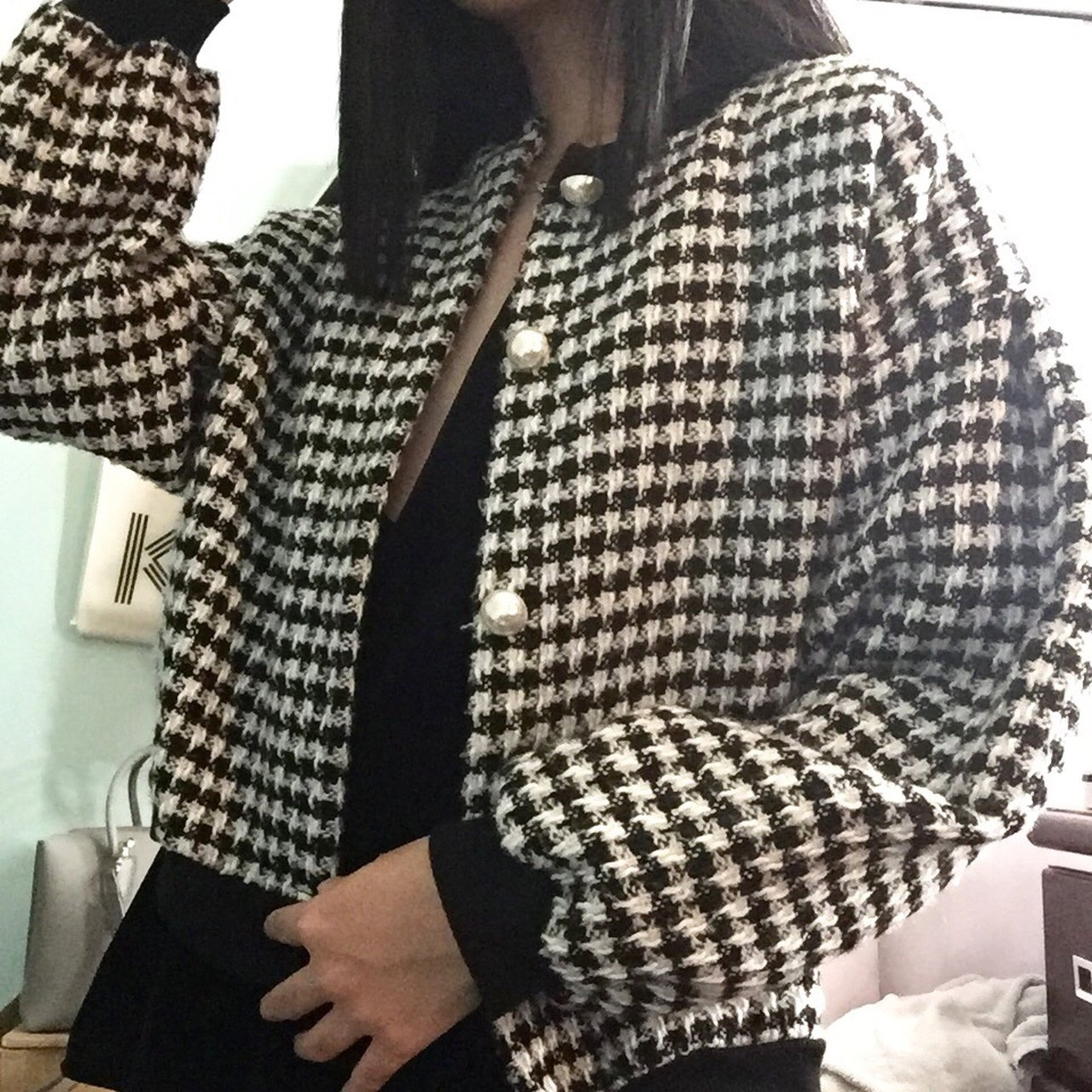 f3fe5b6a2 Black and white checkered houndstooth tweed knit jacket with - Depop