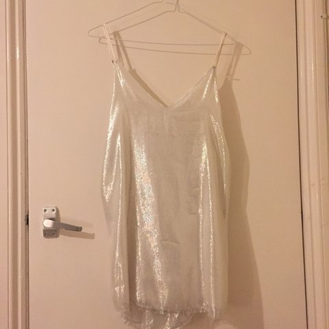 5128dd570753 @emmaleerose. 2 years ago. London, UK. Beautiful Zillah AREYOUAMI real silk  slip dress in white with silver ...