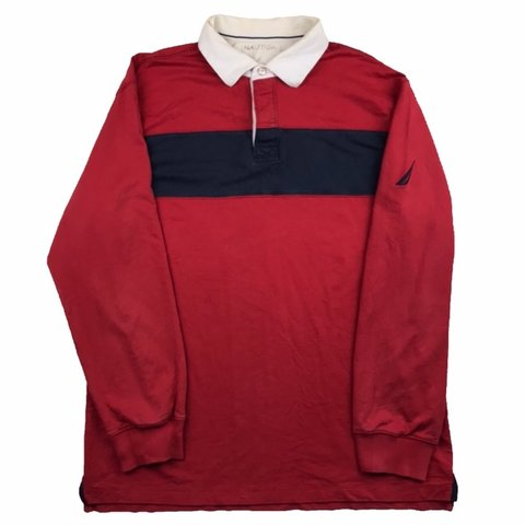 8c1302d45 Vintage Nautica long sleeve polo shirt in red with navy to - Depop