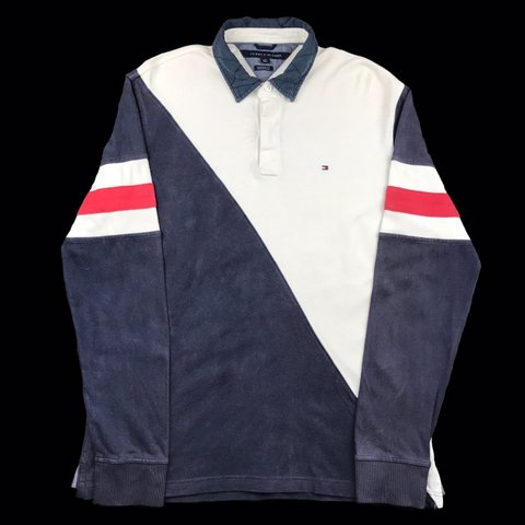 5a55a264c @lukeslocker. 3 months ago. Eastbourne, United Kingdom. Vintage Tommy  Hilfiger Long sleeve colour block polo shirt in navy and white with red ...