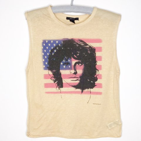 92e17acaa2c642 Forever 21 Jim Morrison Tank Top Large fabric pilling and a - Depop