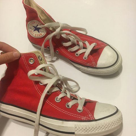 1239871497e1 Red converse pretty good condition a lil wear on them  shoes - Depop