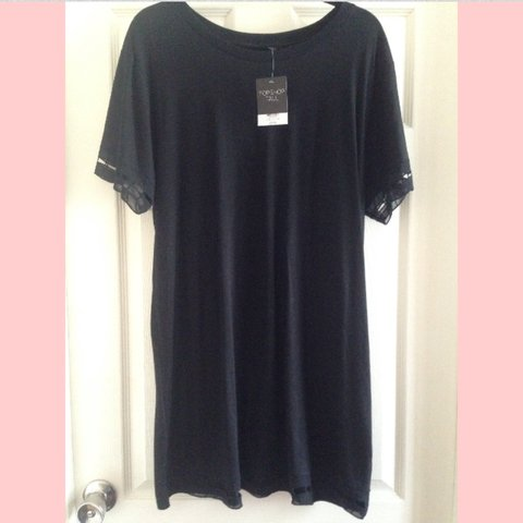 d058ad142d8b REDUCED to £8! ~ Topshop Tall black tshirt dress with sheer - Depop