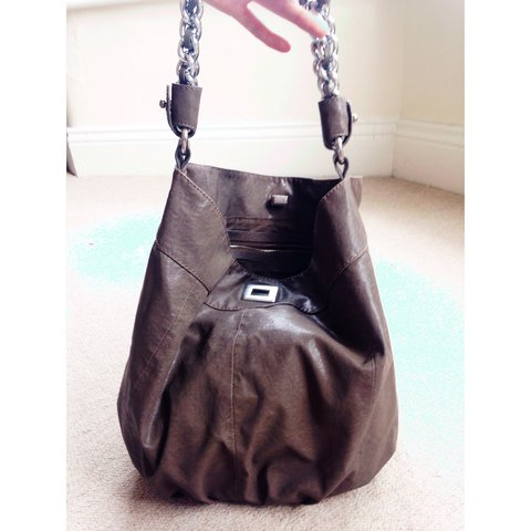 fb5a774bc80 Zara brown leather slouchy shoulder bag with chain strap. - Depop