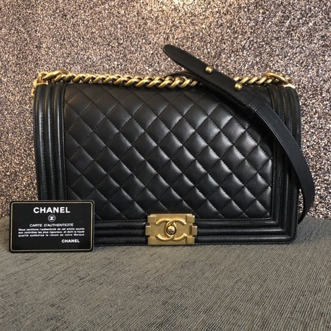 e5aa51063a412d 100% Authentic Chanel Boy Handbag In Black Lambskin Leather - Depop