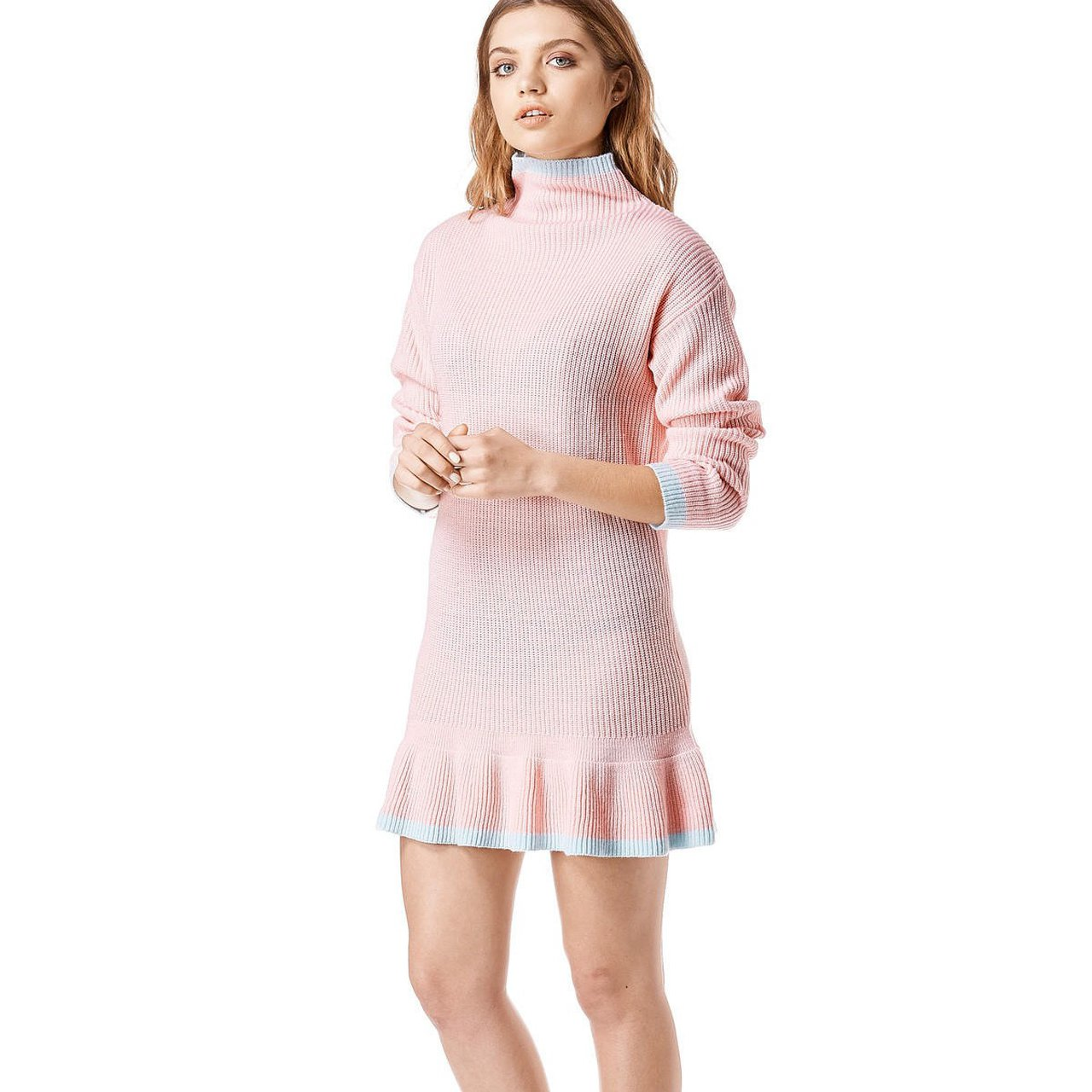 f34e519be1 Nwt unif mistral dress super cute pastel pink and blue knit depop jpg  1280x1280 Pretty pastel