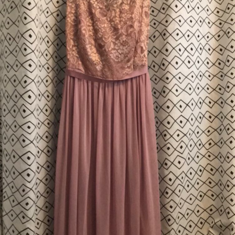 Long Metallic Rose Gold Bridesmaid Dress With Lace Depop