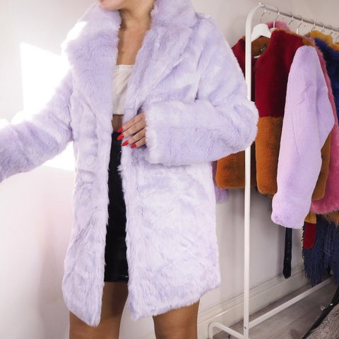f0a04d3a7ea Brand new with tags NAKD lilac faux fur coat size 8. Price - Depop
