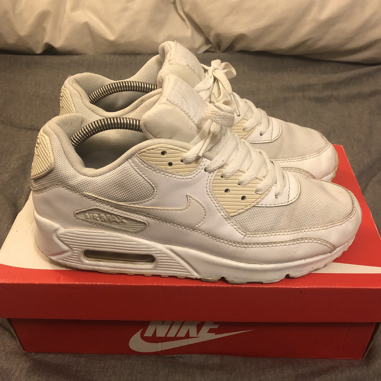 Nike air max 90 triple white. UK size 7. In used Depop