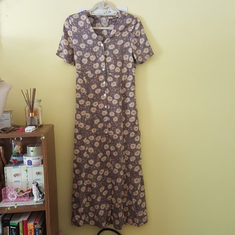 7198745f626b Long floral dress. Has buttons down the front and a tie on - Depop