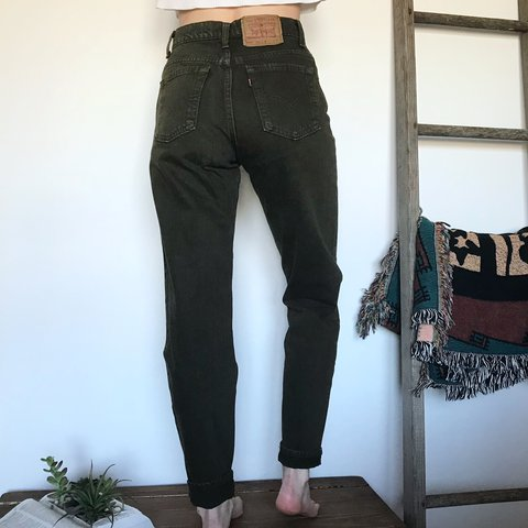 7522c03b7a48 @dogearedvtg. last year. Jackson, United States. Vintage high waisted 550  Levi's Mom Jeans in a beautiful rare dark forest green wash! Perfect  condition!