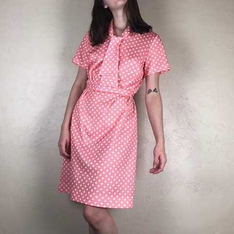 f3bba6fd8ec CUTE vintage 70s does 50s pink and white polka dot housewife - Depop