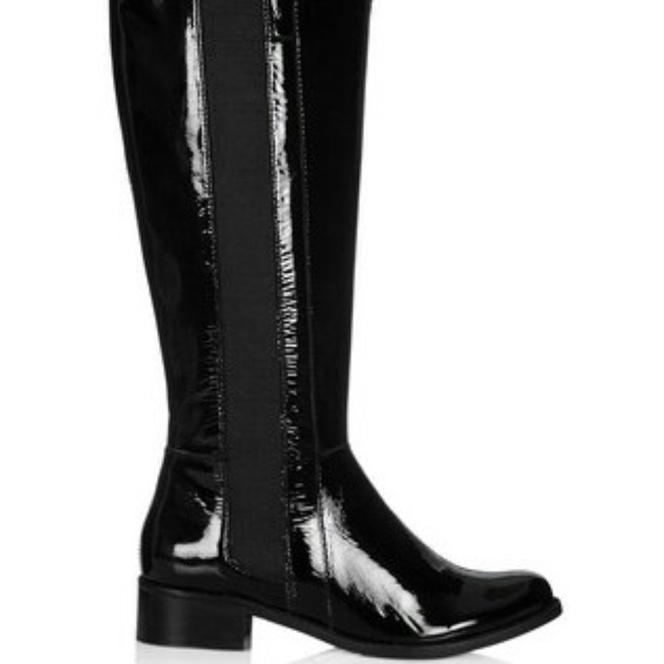 Dune thorp black patent leather boots
