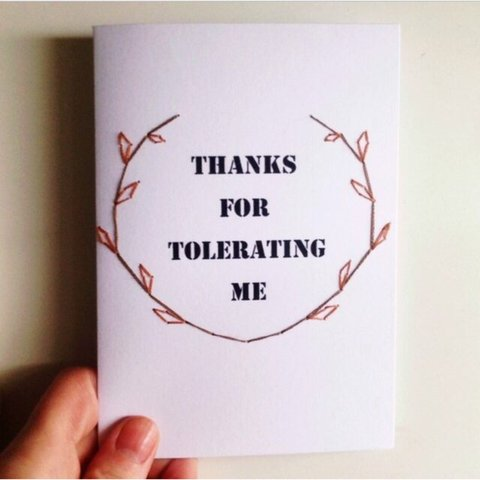 thanks for tolerating me handmade greeting card a6 size with depop