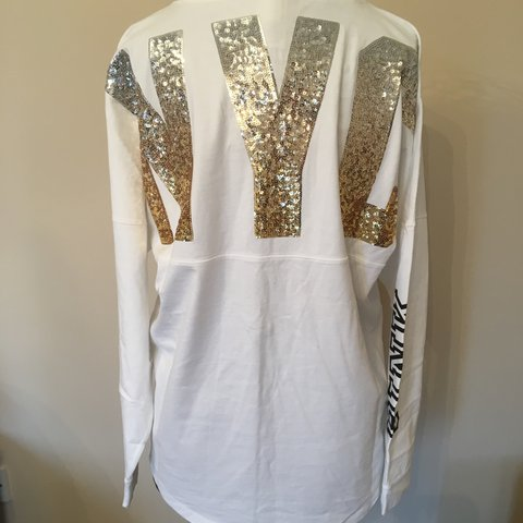 bea24ee4 @kendalloliviab. 2 years ago. Cambourne, United Kingdom. Victoria secret  PINK white jersey style jumper with gold and silver sequin ...