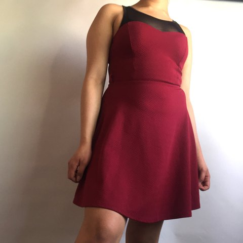Wine Red Dress With A See Through Black Panel At The It Says Depop