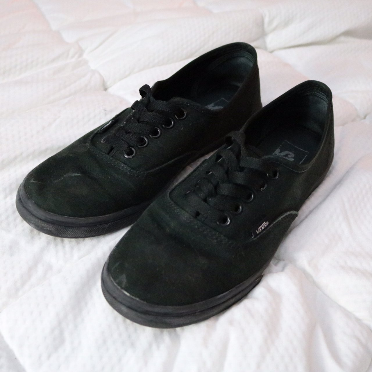 5a159089075215 Authentic Vans all black! These are preloved but have some - Depop