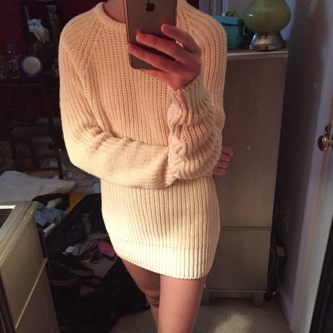 d4fc738ed9c Cream   pale yellow oversized cable knit sweater  thick and - Depop