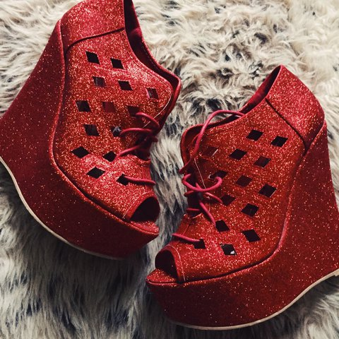 7ca4771d6596 Red glitter high heel wedge shoes size 5. Worn once outside - Depop