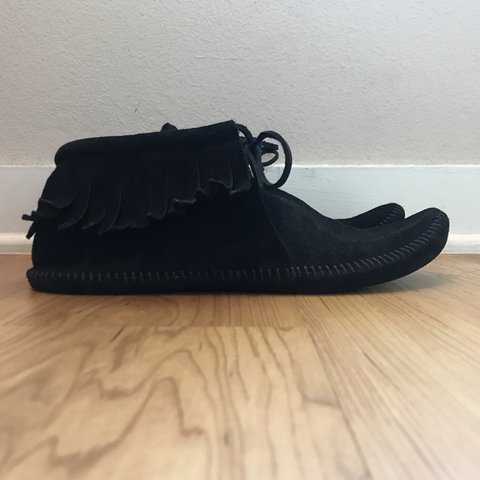 4d2201d875 Minnetonka Black half cab moccasin boot these shoes are and - Depop