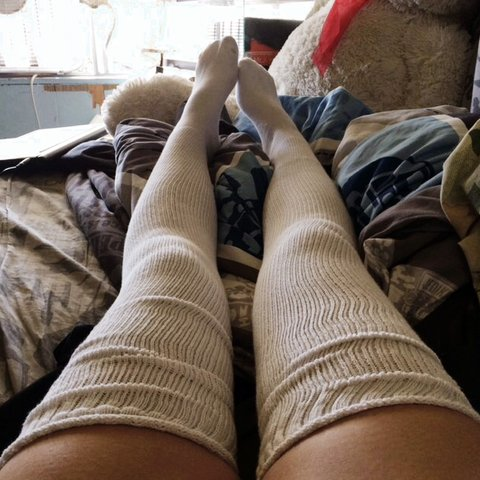 2857599336f White American Apparel thigh high socks. Hardly worn. Only a - Depop