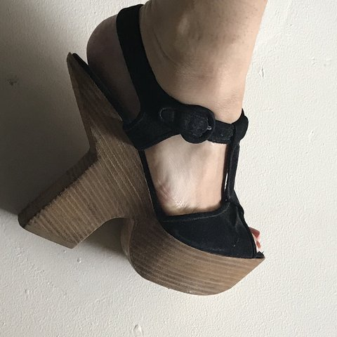 1da616eda5 Wooden heels suede sandals by Phi! I used to love this sad t - Depop