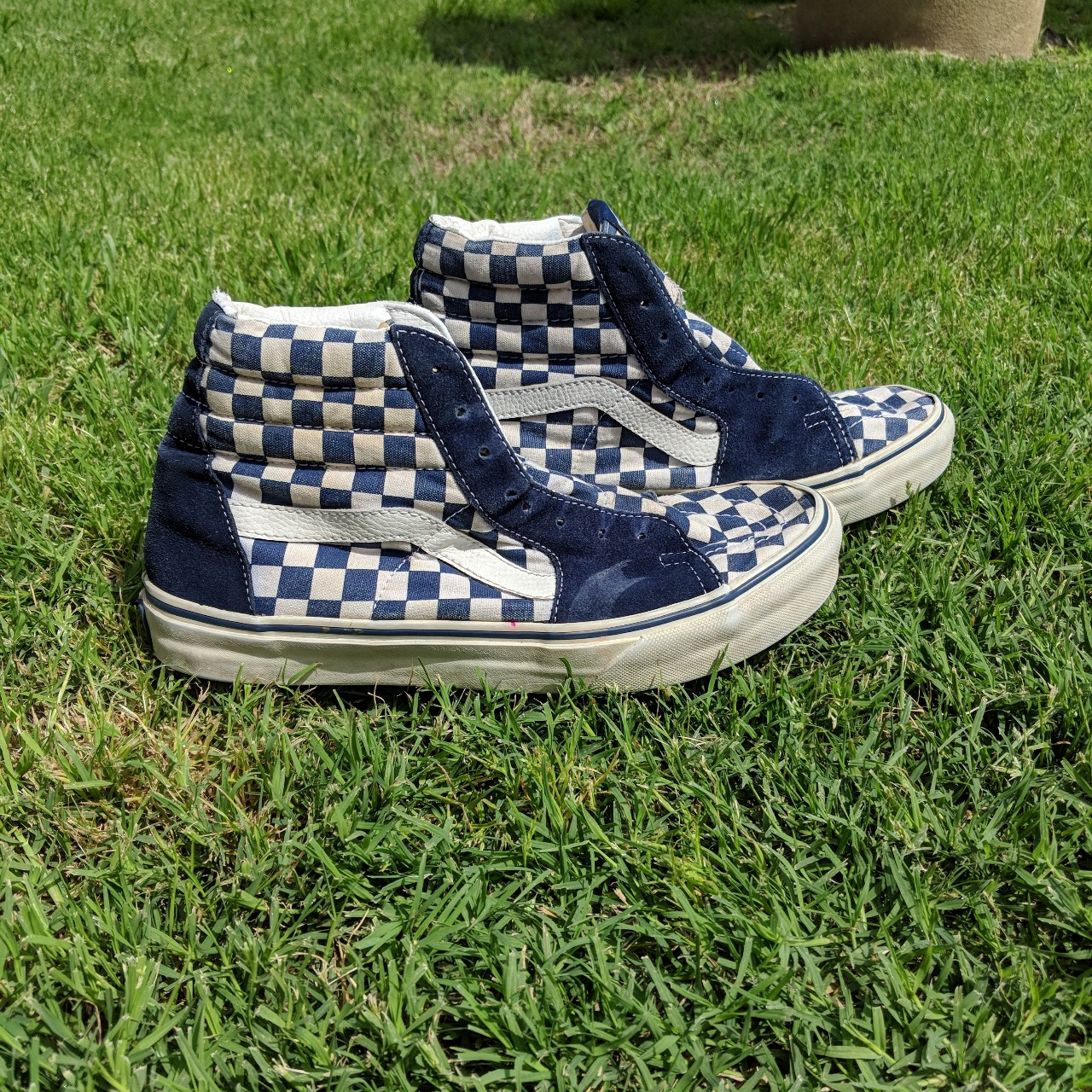 Blue and white checkered high top vans