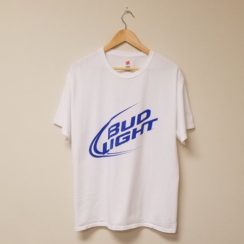 4d4f65a4fbb6 bud #light white T-shirt. #beer #budweiswer #corona #dilly - Depop