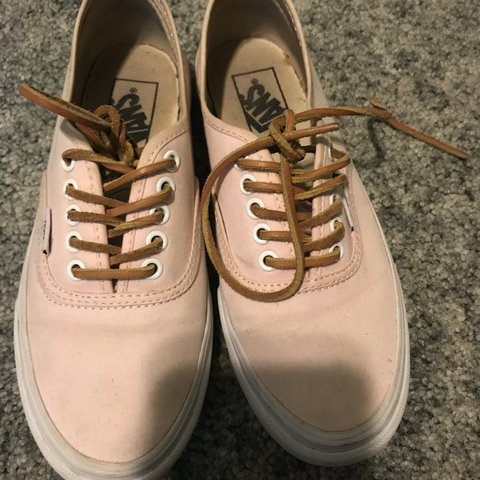 37e90d13f6 Light pink leather lace vans size 6. Like new and no flaws! - Depop