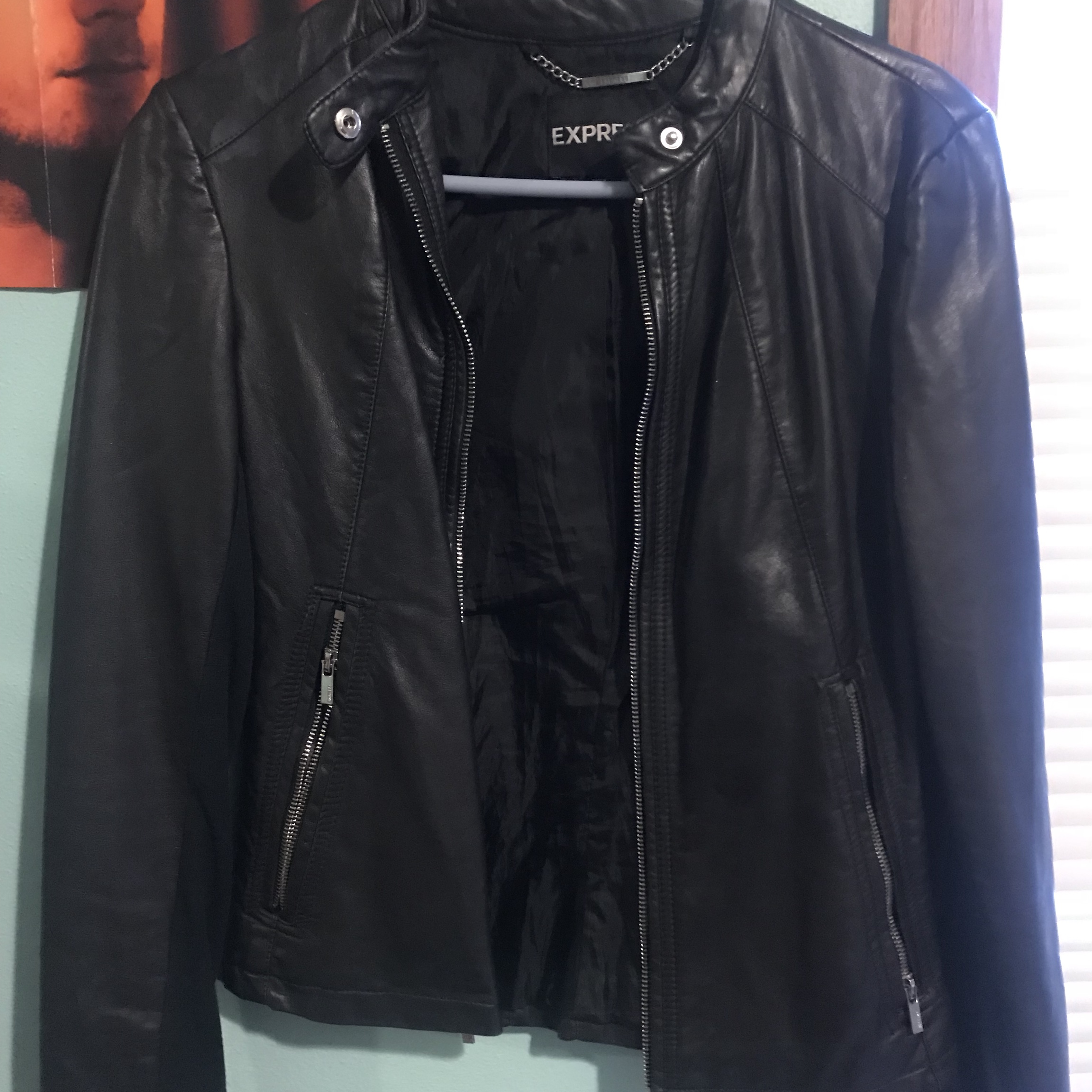 6d74a3e95 Black express faux leather jacket size small/ 4 in... - Depop