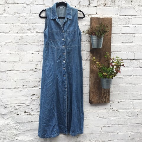 abadeeb71 @lucieanderson1. 2 years ago. Liverpool, United Kingdom. Vintage style denim  maxi dress. Buttons down all the way ...